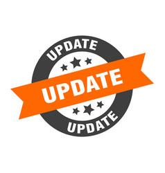 Update sign update orange-black round ribbon vector