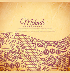 Vintage henna mehndi background vector