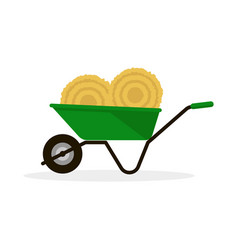 wheelbarrow with hay vector image
