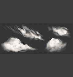 White clouds set realistic smoke icons vector