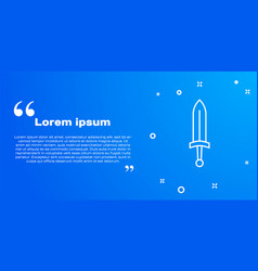 White line medieval sword icon isolated on blue vector