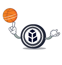 With basketball bancor coin character cartoon vector