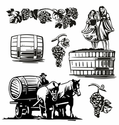 Women dancing barrel grapes charioteer cart driven vector