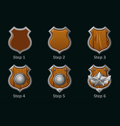 wooden shield icons step-by-step drawing vector image
