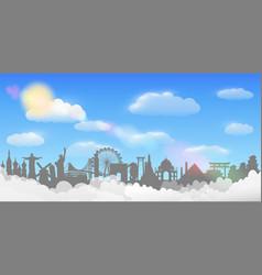 world landmark cloud sky background travel concept vector image