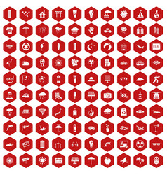 100 sun icons hexagon red vector