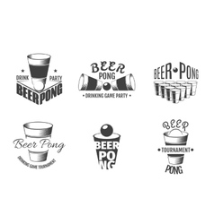 Beer pong labels Party badges vector image
