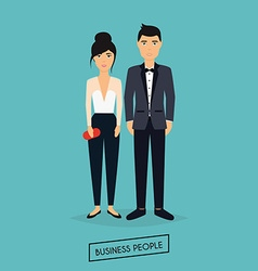 Business man and woman in flat design the meeting vector