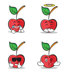 collection set cherry character cartoon style vector image vector image