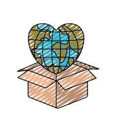Color crayon silhouette globe earth world in heart vector