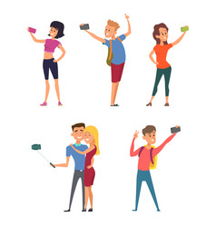 different funny characters make selfie on their vector image vector image