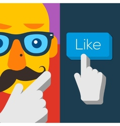 Like us Button with hipster man face vector image vector image