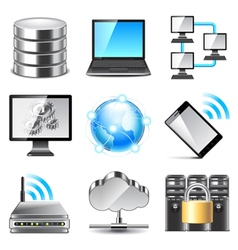 Network icons set vector image vector image