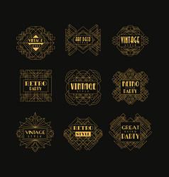 Set of art deco badges decorative golden frames vector