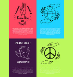 set of colored posters for international peace day vector image vector image