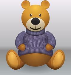 Teddy bear in sweater grey ackground vector image vector image