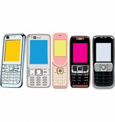 5 cellphones vector image