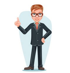 businessman male doctor hand forefinger up cartoon vector image vector image