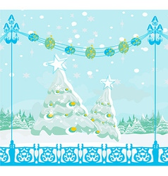 christmas tree card winter landscape vector image vector image