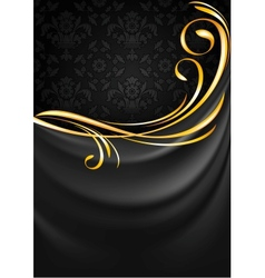 Dark gray fabric curtain background Gold vignette vector image vector image