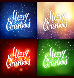 Merry christmas hand lettering greeting card set vector