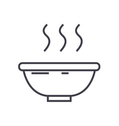 soup bowl line icon sign on vector image vector image