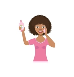 Woman using cleaning lotion home spa treatment vector