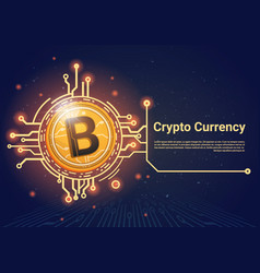 crypto currency bitcoin banner with place for text vector image vector image