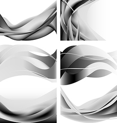Gray abstract waves flames isolated set vector image vector image