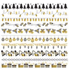 Set of pattern brush christmas gold vector