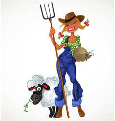 Sexy farm girl with agricultural implements and vector image