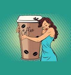 woman hugs coffee cup vector image vector image