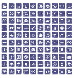 100 tension icons set grunge sapphire vector image vector image