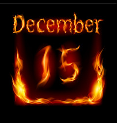 fifteenth december in calendar of fire icon on vector image vector image