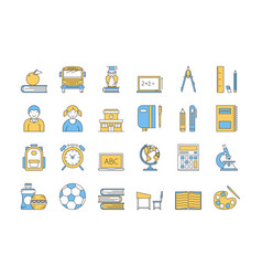 linear color icon set 5 - school education vector image