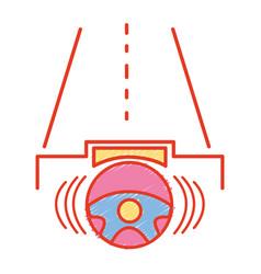 Steering wheel futuristic car in the road vector