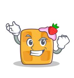 successful waffle character cartoon design vector image vector image