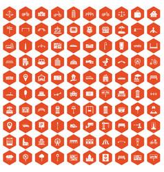 100 city icons hexagon orange vector