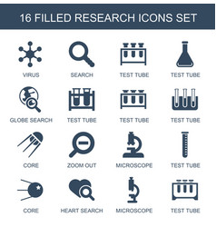 16 research icons vector image