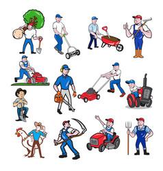 Agricultural worker mascot cartoon set vector