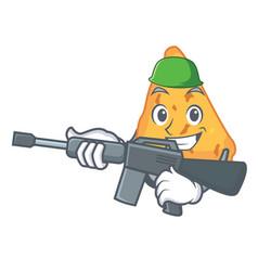 Army nachos character cartoon style vector