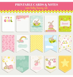 Baby Bunny Card Set - for birthday baby shower vector