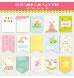 Baby bunny card set - for birthday shower vector
