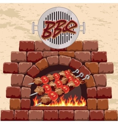 barbecue in the fireplace vector image