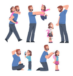Bearded dad and his daughter having good time vector