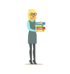 Blond Secretary Holding Pile Of Folders Part Of vector