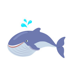 Blue whale cartoon flat vector