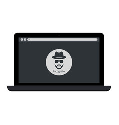 Browse in private laptop with incognito icon web vector
