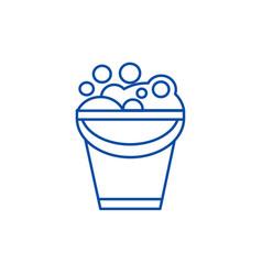 bucket with soap foam line icon concept bucket vector image