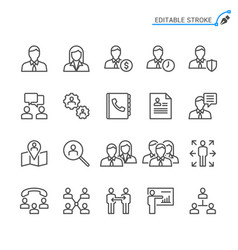 Business line icons editable stroke vector